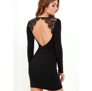 Lulus black long sleeve dress with open back small
